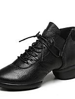 Women's Dance Sneakers Nappa Leather Boot Split Sole Outdoor Low Heel Red Black White 1