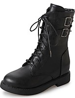 cheap -Women's Shoes PU Fall Combat Boots Boots Round Toe Mid-Calf Boots For Casual Brown Black