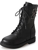 Недорогие -Для женщин Обувь Полиуретан Осень Армейские ботинки Ботинки Круглый носок Сапоги до середины икры Назначение Повседневные Черный