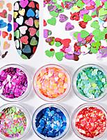 6 bouteilles / set coeur forme ongles paillettes paillettes couleur mélangée brillant 3d nail art paillettes décorations ultra-mince