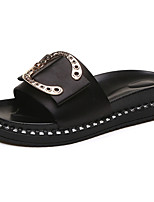 Women's Shoes PU Spring, Fall, Winter, Summer Comfort Slippers & Flip-Flops Open Toe For Casual Green Black