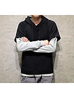 cheap -Men's Daily Going out Hoodie Solid Hooded Micro-elastic Polyester Long Sleeves Spring Fall/Autumn