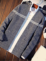 cheap -Men's Others Casual Regular Cardigan,Striped V Neck Long Sleeves Polyester Autumn Medium Micro-elastic