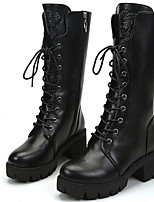 cheap -Women's Shoes Synthetic Fall Winter Cowboy / Western Boots Snow Boots Fashion Boots Boots Knee High Boots For Party & Evening Dress Black