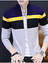 Men's Casual/Daily Short Cardigan,Color Block Turtleneck Long Sleeves Rayon Polyester Fall/Autumn Medium Micro-elastic