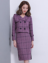 Women's Going out Casual Winter Fall Wrap Skirt Suits,Plaid/Check Shirt Collar Long Sleeves Polyester