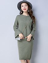 Women's Daily Casual Winter Sweater Skirt Suits,Solid Round Neck Long Sleeves Wool Modal