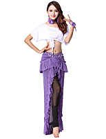 cheap -Shall We Belly Dance Outfits Women's Training Polyester Ruched Split Bandage Short Sleeve Dropped Skirts Tops