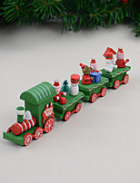 cheap -4 PCS/Set Christmas Gift Wooden Train Home Decoration Children Gift 21.5*5*3cm
