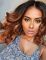 cheap -Women Human Hair Lace Wig Brazilian Remy Glueless Lace Front 150% Density With Baby Hair Loose Wave Wig Black/Medium Browm Short Medium