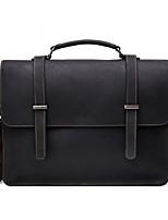 Men Bags All Season Cowhide Briefcase Pockets Zipper for Office & Career Black Coffee Brown