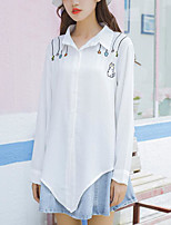 Women's Daily Going out Street chic Shirt,Print Shirt Collar Long Sleeves Cotton