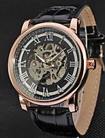 WINNER Men's Dress Watch Wrist watch Mechanical Watch Mechanical manual-winding Hollow Engraving Leather Band Luxury Casual Black Brown