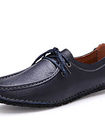 Men's Shoes Real Leather All Season Comfort Oxfords For Casual Blue Brown Black