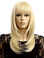 Women Synthetic Wig Capless Wave Straight Blonde Natural Wig Wigs