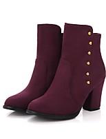 Недорогие -Для женщин Обувь Бархатистая отделка Весна Осень Модная обувь Ботильоны Удобная обувь Ботинки Круглый носок Ботинки Заклепки Назначение