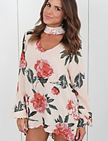 cheap -Women's Holiday Going out Sexy Spring/Fall Summer Blouse,Floral Round Neck Long Sleeves Polyester Medium