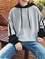 cheap -Men's Daily Hoodie Solid Hooded Inelastic Cotton Polyester Long Sleeves Fall