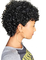 cheap -Women Human Hair Capless Wigs Black Short Jerry Curl Curly African American Wig
