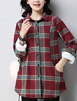 Women's Daily Street chic Shirt,Print Shirt Collar Long Sleeves Cotton Medium