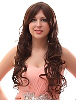 Women Synthetic Wig Capless Long Brown Natural Wigs Costume Wig