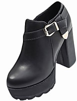 cheap -Women's Shoes PU Winter Fall Comfort Fashion Boots Boots Chunky Heel Round Toe For Casual Black