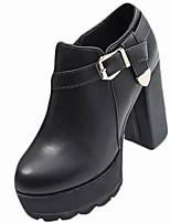 abordables -Mujer Zapatos PU Invierno Otoño Confort Botas de Moda Botas Tacón Cuadrado Dedo redondo Para Casual Negro