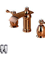 Contemporary Deck Mounted Waterfall Ceramic Valve Two Handles Three Holes Rose Gold , Bathroom Sink Faucet