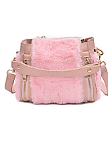 Women Bags Fur Tote Feathers / Fur for Casual All Season Black Blushing Pink Gray Khaki