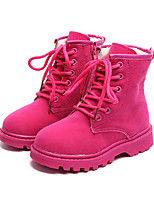 cheap -Girls' Shoes Suede PU Winter Comfort Fashion Boots Combat Boots Boots Mid-Calf Boots Lace-up for Casual Outdoor Black Fuchsia Brown