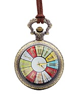 Недорогие -Муж. Карманные часы Китайский Кварцевый Крупный циферблат Кожа Группа На каждый день Цветной Коричневый