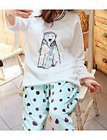 Costumes Pyjamas Femme,Animaux Coton Polyester Bleu clair