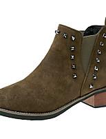 abordables -Mujer Zapatos Vellón Invierno Botas de Moda Botas Dedo redondo Para Negro Marrón Verde Ejército