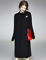 Women's Daily Going out Street chic Loose Dress,Solid Turtleneck Knee-length Long Sleeve Wool Polyester Winter Fall Medium Waist Stretchy