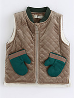 cheap -Girls' Solid Vest,Cotton Sleeveless Khaki