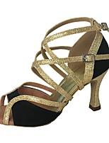 Feminino Latina Flocagem Glitter Sandália Salto Profissional Recortes Salto Personalizado Preto Personalizável