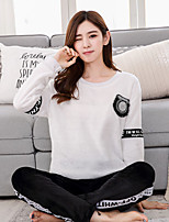 Women's Suits Pajamas,Print Patchwork Cashmere White