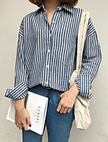 cheap -Women's Daily Cute Shirt,Striped Shirt Collar Long Sleeves Cotton