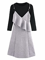 Women's Daily Work Casual Autumn/Fall Sweater Dress Suits,Solid Round Neck Long Sleeves Others