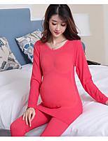 Nuisette & Culottes Pyjamas Femme,Imprimé Fleurs Solide Polyester Noir Rouge Rose Claire Violet Fuchsia