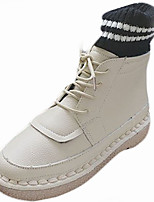 cheap -Women's Shoes Rubber Winter Combat Boots Boots Round Toe For Outdoor Beige Black