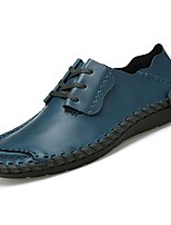 Men's Shoes PU Spring Fall Comfort Oxfords For Casual Dark Brown Light Brown Blue Black