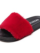 Women's Shoes Feather/ Fur Winter Comfort Slippers & Flip-Flops Open Toe For Casual Blushing Pink Red Gray Black