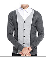 Men's Daily Going out Regular Cardigan,Solid Peter Pan Collar Long Sleeves Cotton Medium Micro-elastic