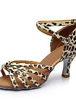 Women's Latin Real Leather Flat Practice Stiletto Heel Leopard Brown Yellow Black 2
