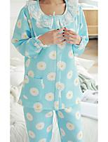 Costumes Pyjamas Femme,Fleurs Coton Polyester Bleu clair