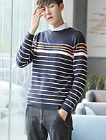 Men's Casual/Daily Regular Pullover,Striped Round Neck Long Sleeves Rayon Polyester Winter Fall/Autumn Medium Stretchy