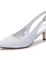Femme Chaussures Dentelle Satin Printemps Eté Confort Chaussures de mariage Bout pointu Strass Paillette Brillante Creuse Pour Mariage