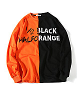 Men's Daily Sweatshirt Color Block Letter Cotton