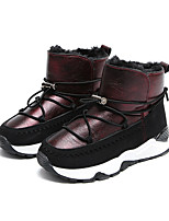 cheap -Girls' Shoes PU Winter Comfort Fashion Boots Boots Mid-Calf Boots Lace-up for Casual Outdoor Silver Wine